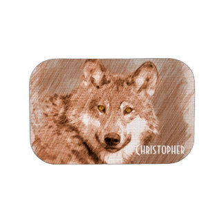 Wolf Pencil Sketch Image Personalize Lunch Box
