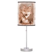 Wolf Pencil Sketch Image Tiled Pattern Desk Lamp