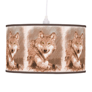 Wolf Pencil Sketch Image Tiled Pattern Pendant Lamp