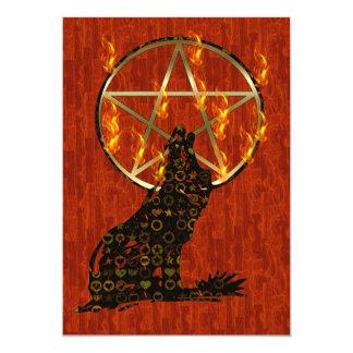 Wolf Pentagram Card