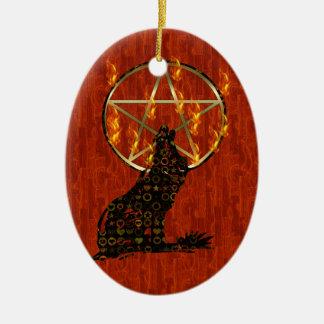 Wolf Pentagram Ceramic Ornament