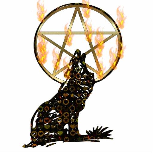 Wolf Pentagram Statuette