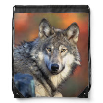 Wolf Photograph Drawstring Backpack