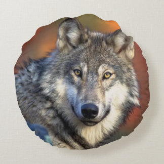 Wolf Photograph Image Round Pillow
