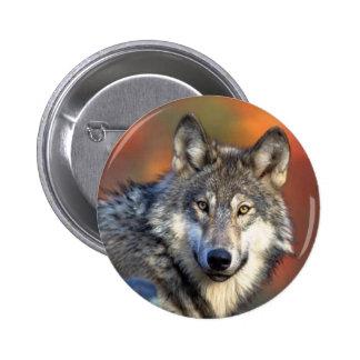 Wolf Photograph Pinback Button