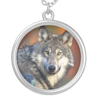 Wolf Photograph Round Pendant Necklace