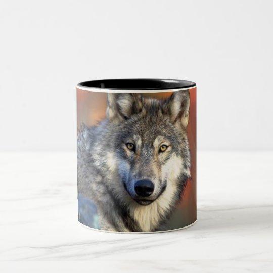 Wolf Photograph Two-Tone Coffee Mug