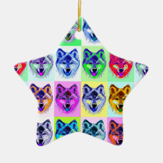 Wolf Pop Art Ceramic Ornament