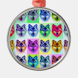 Wolf Pop Art Metal Ornament
