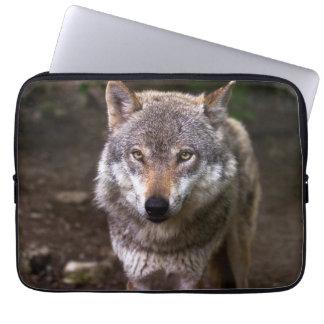 Wolf portrait computer sleeve