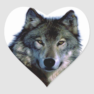 Wolf Portrait Heart Sticker