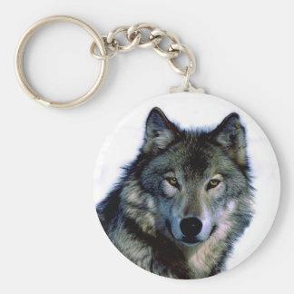 Wolf Portrait Basic Round Button Keychain