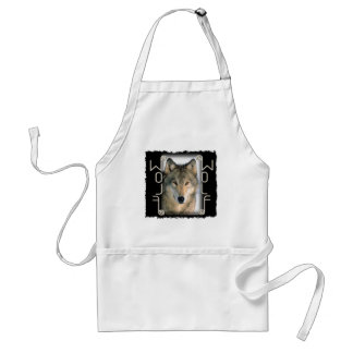 WOLF PORTRAIT - MIRRORED TEXT ADULT APRON