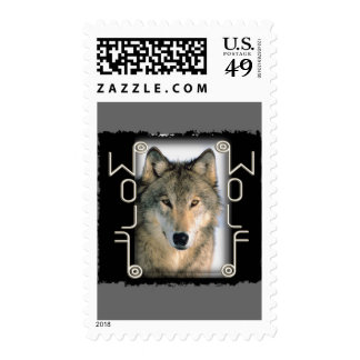WOLF PORTRAIT - MIRRORED TEXT POSTAGE STAMPS