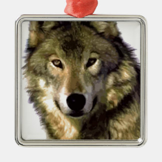 Wolf Portrait Square Metal Christmas Ornament