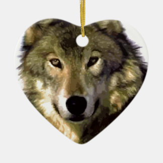 Wolf Portrait Double-Sided Heart Ceramic Christmas Ornament