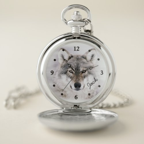 Wolf Portrait Pocket Watch