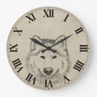 Wolf Power Large Clock