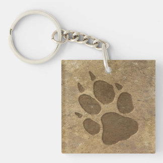 Wolf Print In the Dirt Keychain