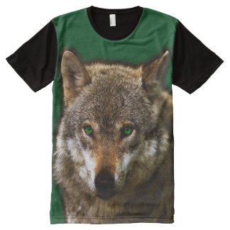 Wolf Profile with green eyes ~ editable background All-Over-Print T-Shirt
