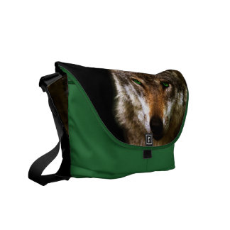 Wolf Profile with green eyes ~ editable background Courier Bag