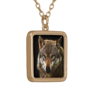 Wolf Profile with green eyes ~ editable background Gold Plated Necklace