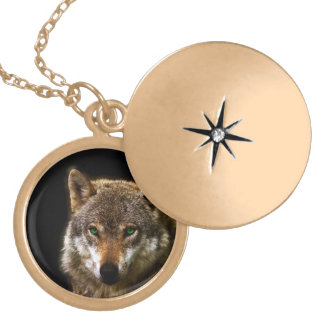 Wolf Profile with green eyes ~ editable background Locket Necklace
