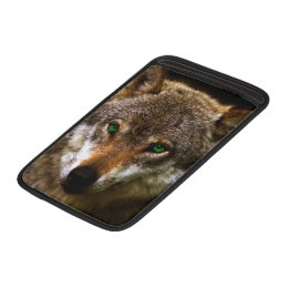 Wolf Profile with green eyes ~ editable background MacBook Sleeve