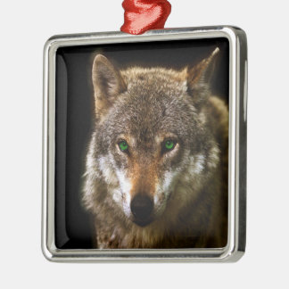 Wolf Profile with green eyes ~ editable background Metal Ornament