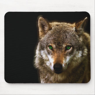 Wolf Profile with green eyes ~ editable background Mouse Pad