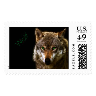 Wolf Profile with green eyes ~ editable background Postage