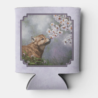 Wolf Pup and Flowers Lavender Can Cooler