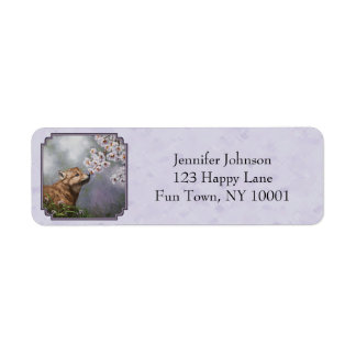 Wolf Pup and Flowers Lavender Label