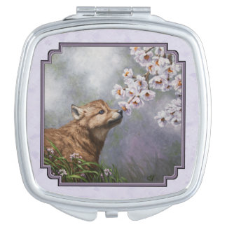 Wolf Pup and Flowers Lavender Makeup Mirror