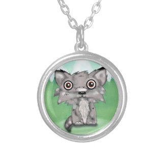 wolf pup in the meadow round pendant necklace