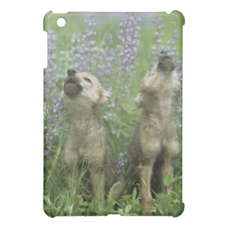 Wolf Puppies Howling In Meadow iPad Mini Cover