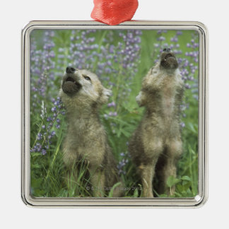 Wolf Puppies Howling In Meadow Square Metal Christmas Ornament