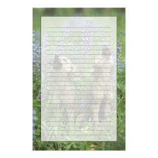 Wolf Puppies Howling In Meadow Stationery