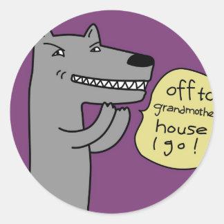 Wolf (purple) classic round sticker