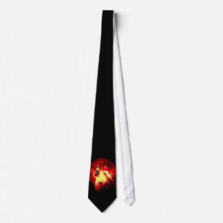 Wolf & Red Moon Custom Tie