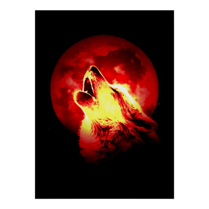 wolf amp red moon poster zazzle