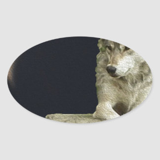 Wolf Relaxing Oval Sticker