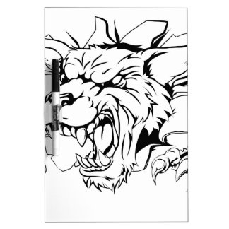 Wolf ripping through wall dry erase whiteboards