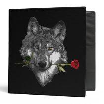 Wolf Rose 3 Ring Binder