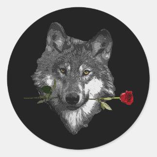 Wolf Rose Classic Round Sticker