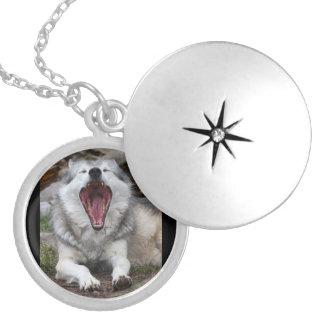 wolf round locket necklace