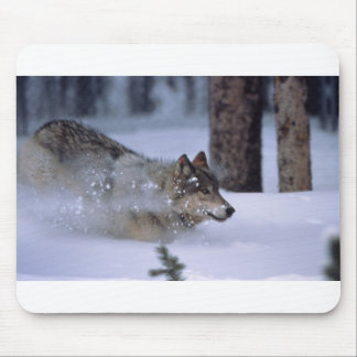 Wolf Running In Snow Mouse Pad