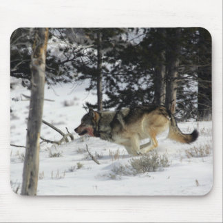 Wolf Running in Snow Mousepad