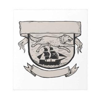 Wolf Running Over Pirate Ship Crest Scratchboard Notepad