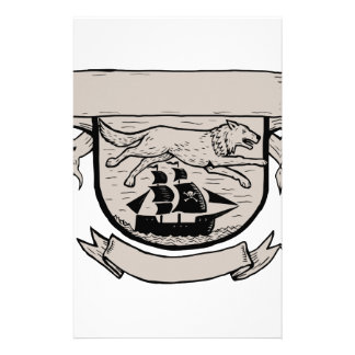 Wolf Running Over Pirate Ship Crest Scratchboard Stationery